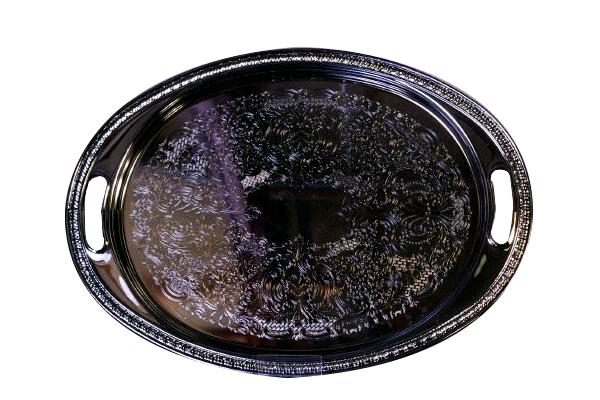 Chrome Oval Tray With Design & Handles